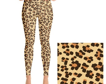 4343ac44d120d Brown Leopard Print Yoga Leggings, High Waist Leggings for women, All-Over  Animal Print Yoga Tights, Gym Workout Fitness | XS-XL