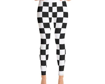 e522e220a1ae6 Black and White Checkered High Waist Leggings for women, All-Over Print  Yoga Tights, Gym Workout Fitness Leggings | XS-XL