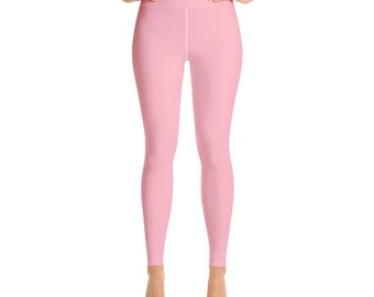 2c9584e2939cb2 High Waisted Leggings, Light Pink, Solid color Yoga Leggings for women, Pink  Yoga Tights, Gym Workout Fitness | XS-XL