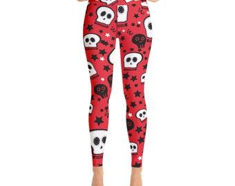 41c6ec9879147 Red-White Skulls Yoga Leggings, Skulls and Stars, High Waist Leggings for  women, All-Over Print Yoga Pants, Gym Workout Fitness | XS-XL