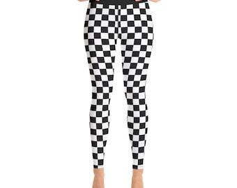 cbf8bca25937b Black and White Checkered High Waist Leggings for women, All-Over Print  Yoga Tights, Gym Workout Fitness Leggings   XS-XL