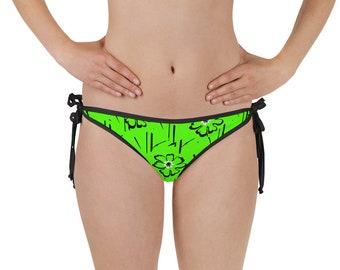 7f06df1de8d Neon Green Bikini Bottom, Comfy Bikini Bottom with Adjustable straps,  Floral Graphic Pattern, Reversible design, Chlorine-resistant   XS-3XL