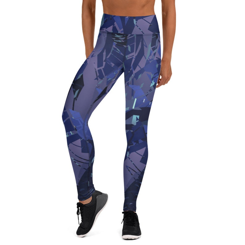 Blue /& Black Yoga Leggings Gym Workout Fitness Leggings XS-XL High Waist Blue Leggings with Abstract Print All-Over Print