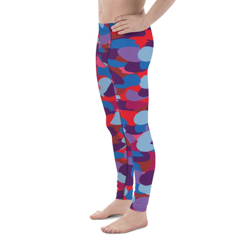 Men/'s Leggings Gifts for men Blue-Red Camo Leggings for men All-over print Colorful Camouflage pattern Gift for him