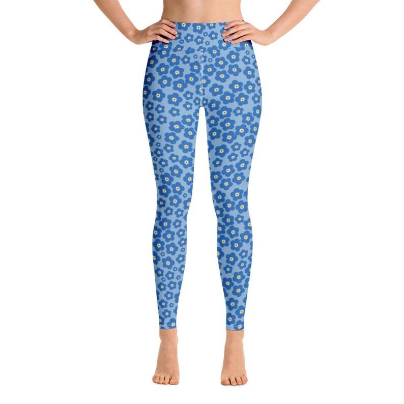 Blue Floral Leggings for women Gym Workout Fitness Blue High Waist Yoga Leggings All-Over Print Yoga Pants