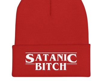 Satanic Bitch Stranger Things Cuffed Beanie 46c2709135db