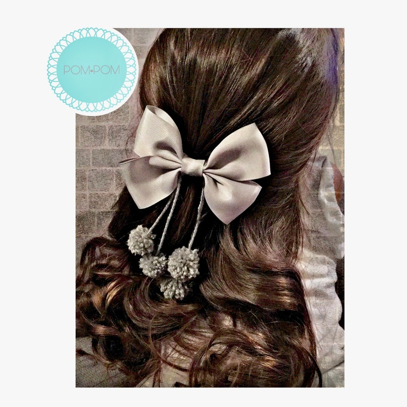 Gray Pom Pom Bow,Pom Pom Bow,Grey Pom Pom Bow,Ribbon,Bow,Silver Bow,GreyBow,Cute Bow,Gray Ribbon Bow,Silver Ribbon Bow Baby bow