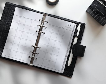 Printed Undated Monthly Plan Planner Inserts   12 Sheets   mo2p   Personal A5 A6   6 Rings Planner   Discbound Planner Inserts