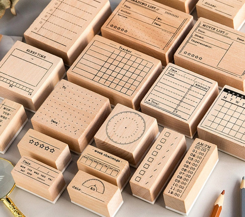 Scrapbooking Stamp\u00a0 Wooden Stamp Set\u00a0 Bullet Journal Midori Traveler\u2019s Notebook Sleep Time Tracker Rubber Stamp Planner Stamp\u00a0