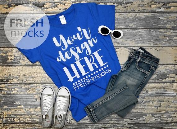 Gildan G500l Ladies Tshirt T Shirt Tee Mockup Ladies Royal Etsy