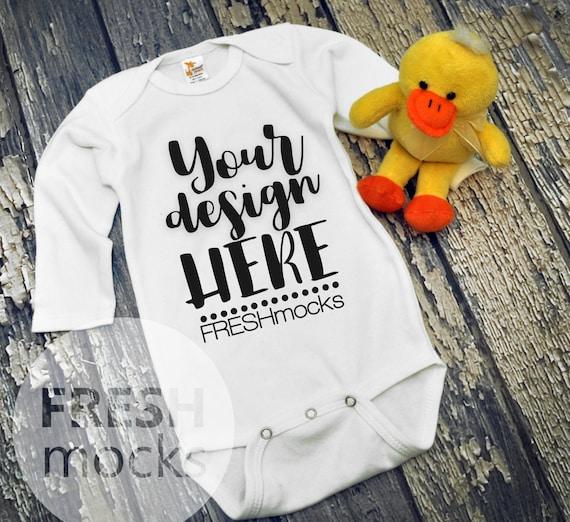Instant Download Infant Baby Mockup Gray Body Suit Mock Up on White Wood Background Laughing Giraffe Unisex Bodysuit MOCKUP