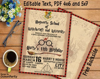 Harry Potter Invitation Magical Birthday Party Invite Boy Girl Printable Wizard Birth OP01