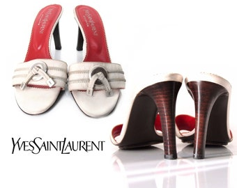 d6ddefb291d YSL White Leather & Wood Sandals, Stiletto Heels, Sz 39, US 8 1/2, Italy,  Vintage Yves Saint Laurent Shoes, Slides, Mules, Slip ons, 70s 80s