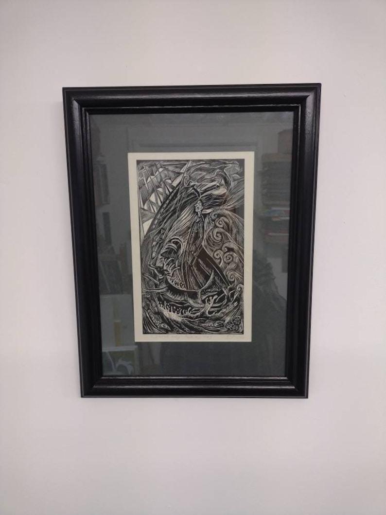 I started early-took my dog original linocut print