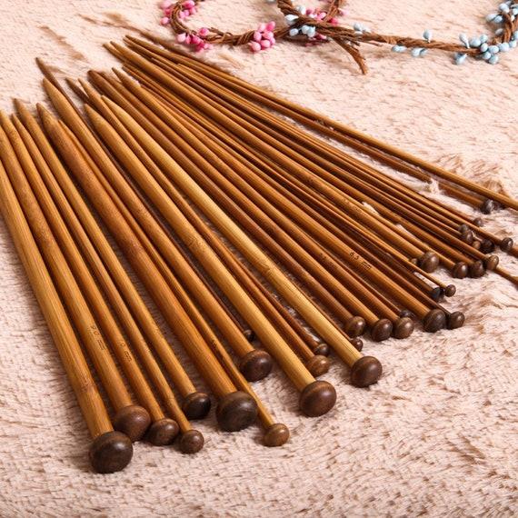 36pcs//18Size Carbonize Bamboo Single Pointed Crochet Hook Knitting Needles Set
