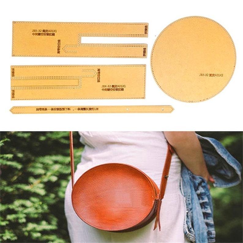 1 et DIY Leather Handmade Craft women handbag Shoulder bag Sewing Pattern Hard Kraft paper Stencil Template 20x20x7.5cm