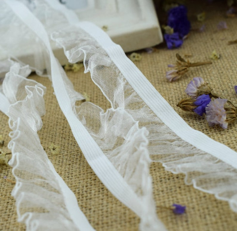 elastic lace Baby Clothes Skirts Waistband hair Elastic bands Webbing 1 28 White Organza ruffled lace trim 6yards 30MM