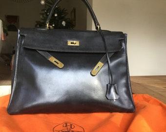 accfd51e31472 Beautiful Kelly bag Hermes black 35cm. authentic