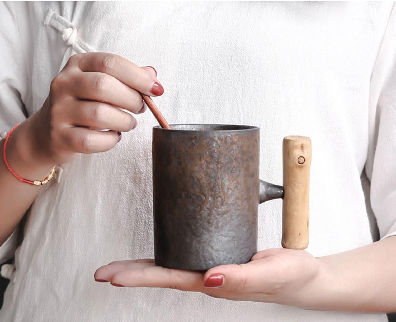 Ceramic wooden handle mug, cup, ceramic cup, coffee mug, creative ceramic mug, unique gift,unique mug ,ceramic kiln change mug,vintage mug for sale