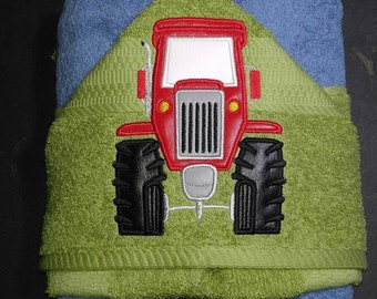 Personalized Red Tractor Machine Embroidered Hooded Towel Peeker. Bathtime. Swimming. Farming