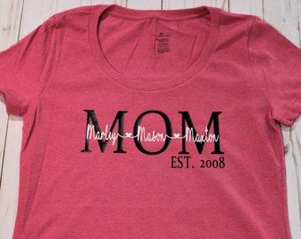 Custom Personalized mom grandma shirt with children's names & established year. Short sleeve ladies shirt.