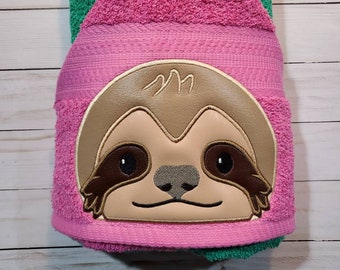 Personalized Sloth Hooded Towel Peeker. Machine Embroidered sloth design