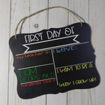 Customizable First Day of School chalkboard sign. Reusable fill in style design.