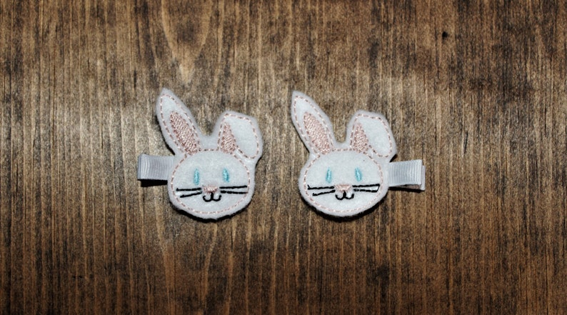Two pack Easter bunny feltie hair clips.  Pigtail alligator image 0