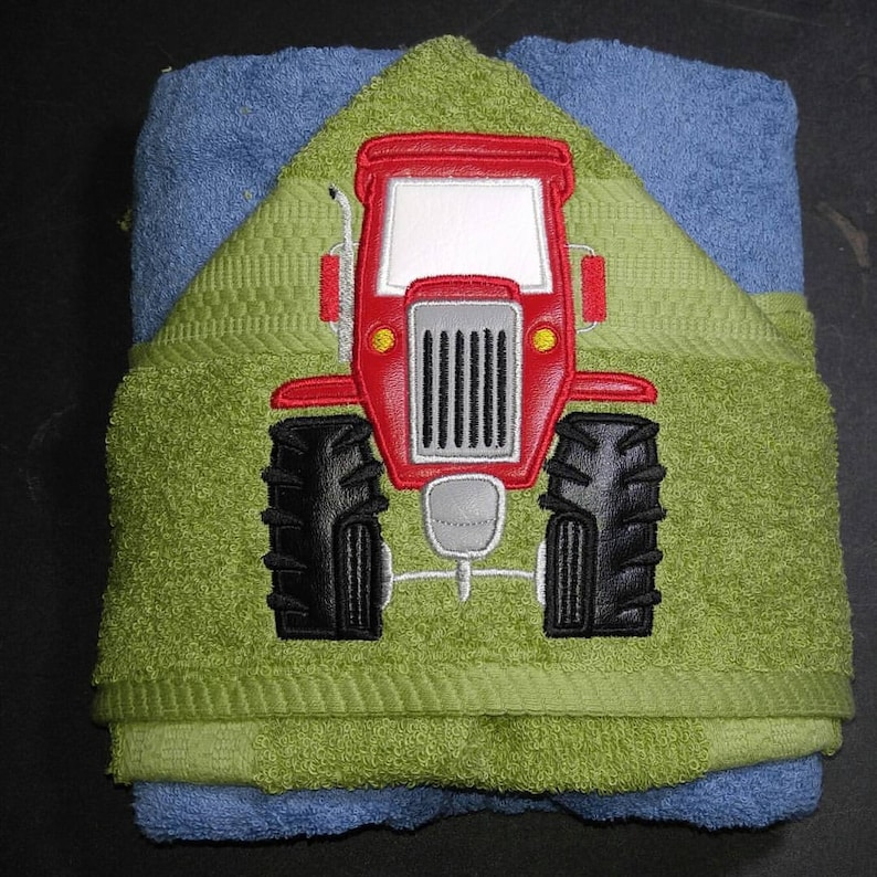Personalized Red Tractor Machine Embroidered Hooded Towel image 0