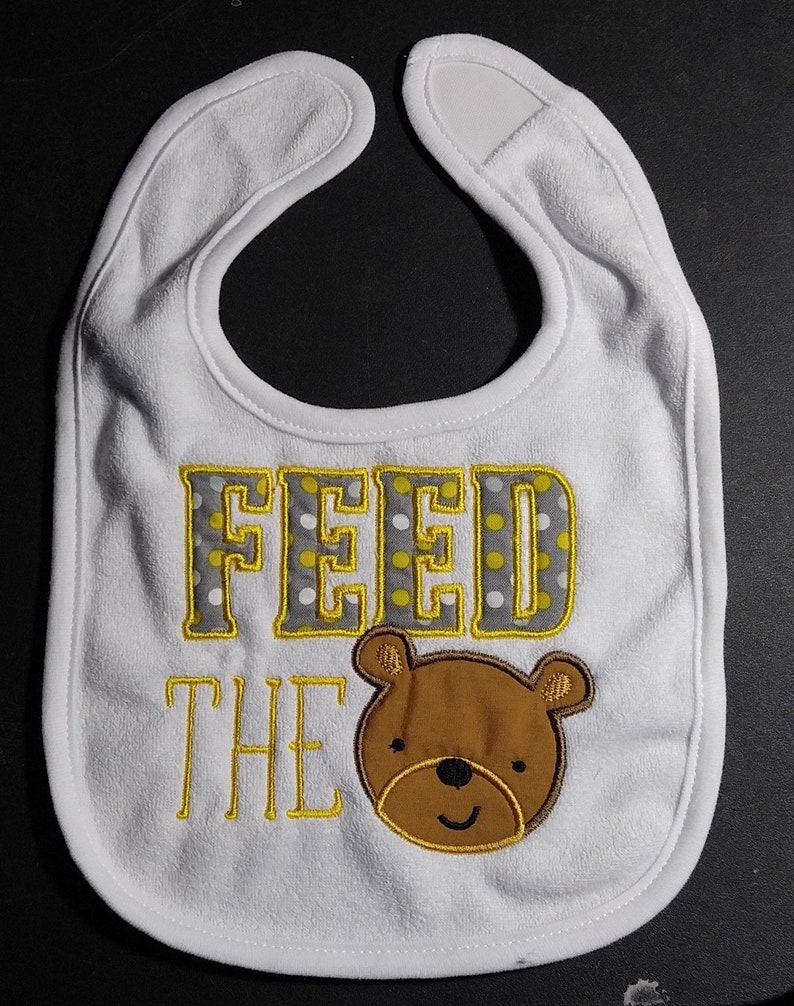 Feed the Bear machine embroidered applique infant toddler image 0