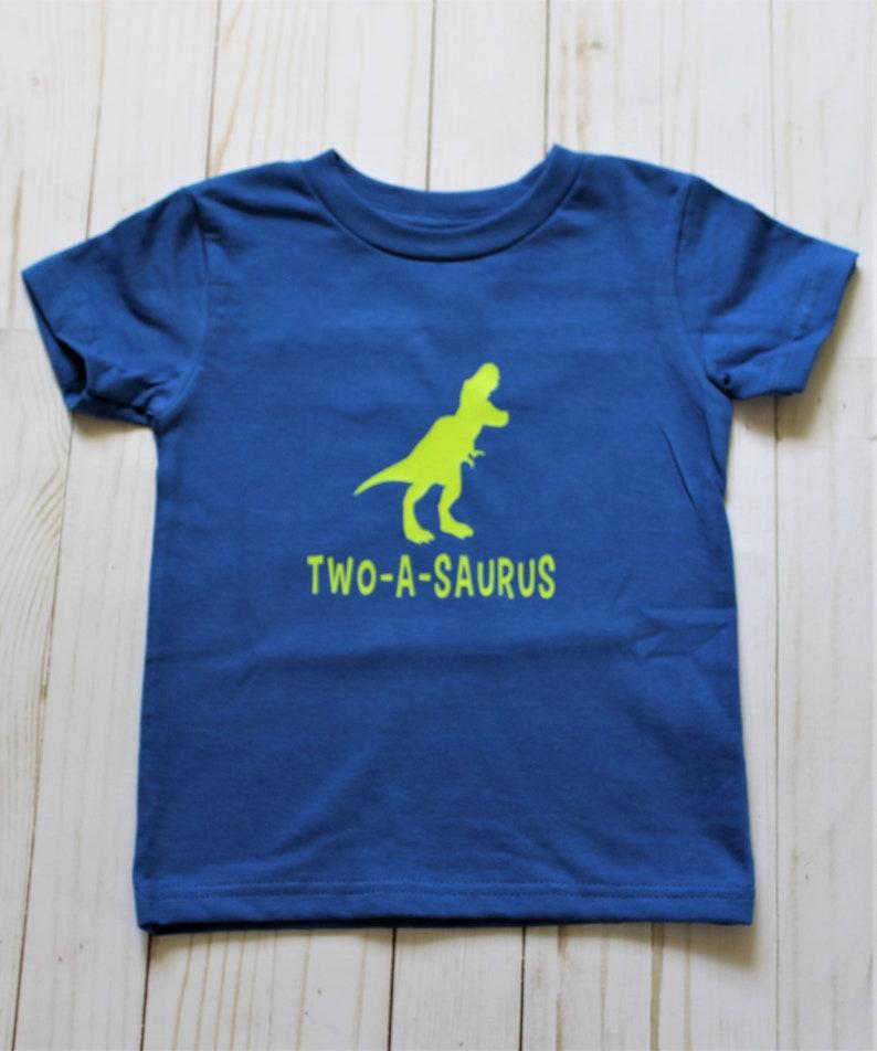 Two-a-saurus Birthday shirt. Second birthday child short image 0