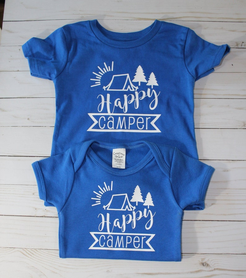 Children Infant Bodysuit with Happy Camper vinyl design in image 0