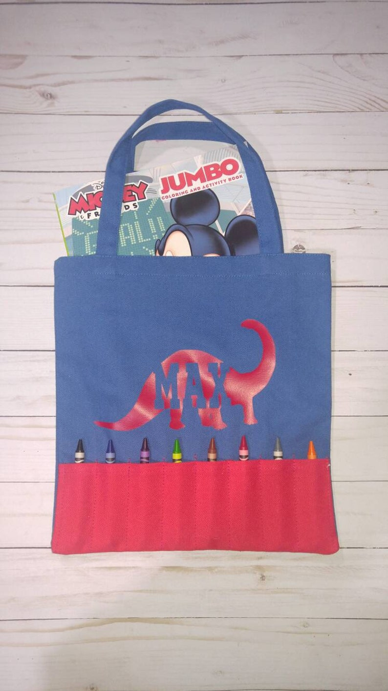 Personalized Boys Blue and Red Crayon & Coloring Book Tote Bag image 0