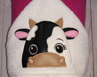 Personalized Black and White Cow Machine Embroidered Hooded Towel Peeker. Bathtime. Swimming.