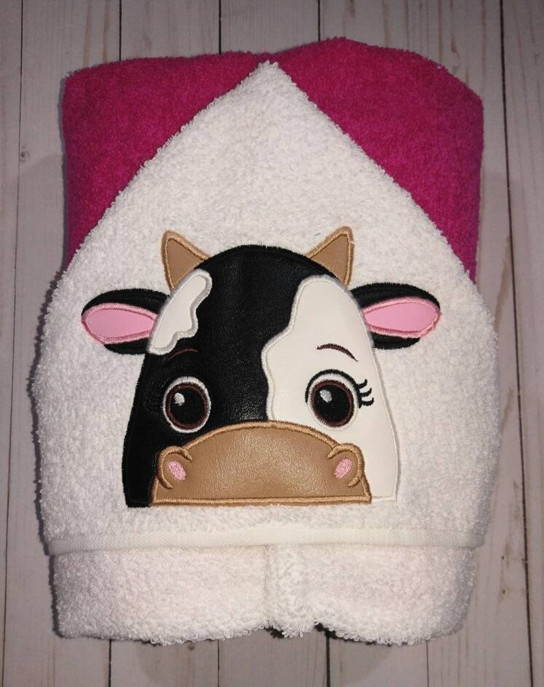 Personalized Black and White Cow Machine Embroidered Hooded image 0