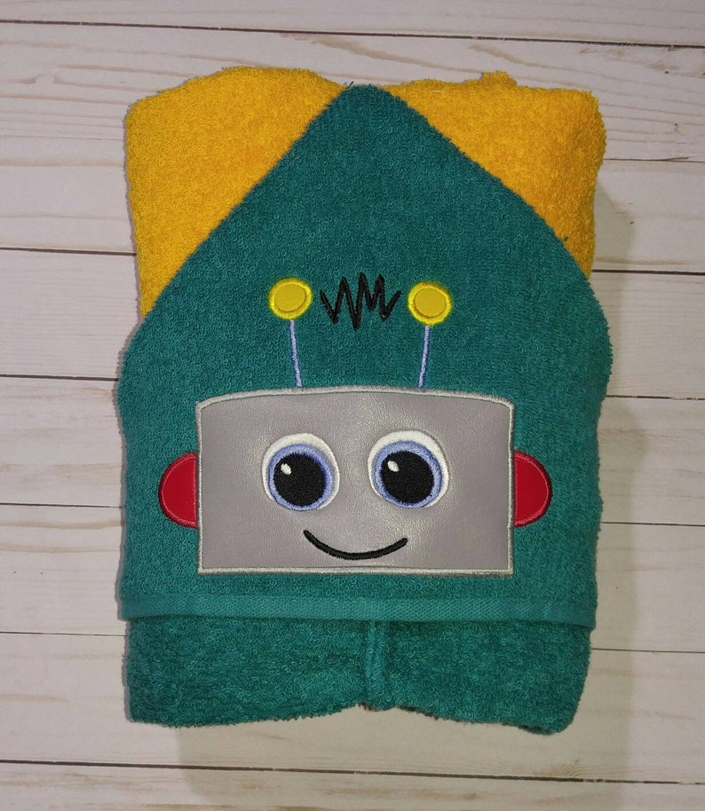 Personalized Handcrafted machine embroidered robot face hooded image 0