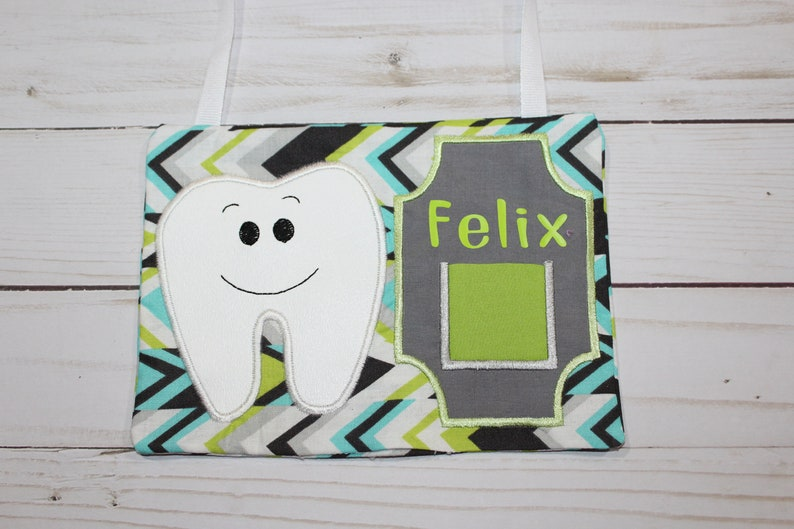 Personalized Hanging Tooth Fairy Pillow Green Blue Gray zig Yes