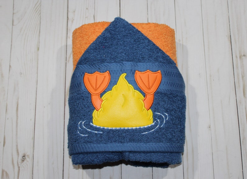 Personalized embroidered duck tail hooded towel. Swimming Bath image 0