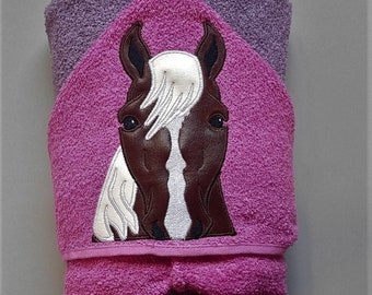 Personalized Brown and White Horse Machine Embroidered Hooded Towel Peeker. Bathtime. Swimming. Pony