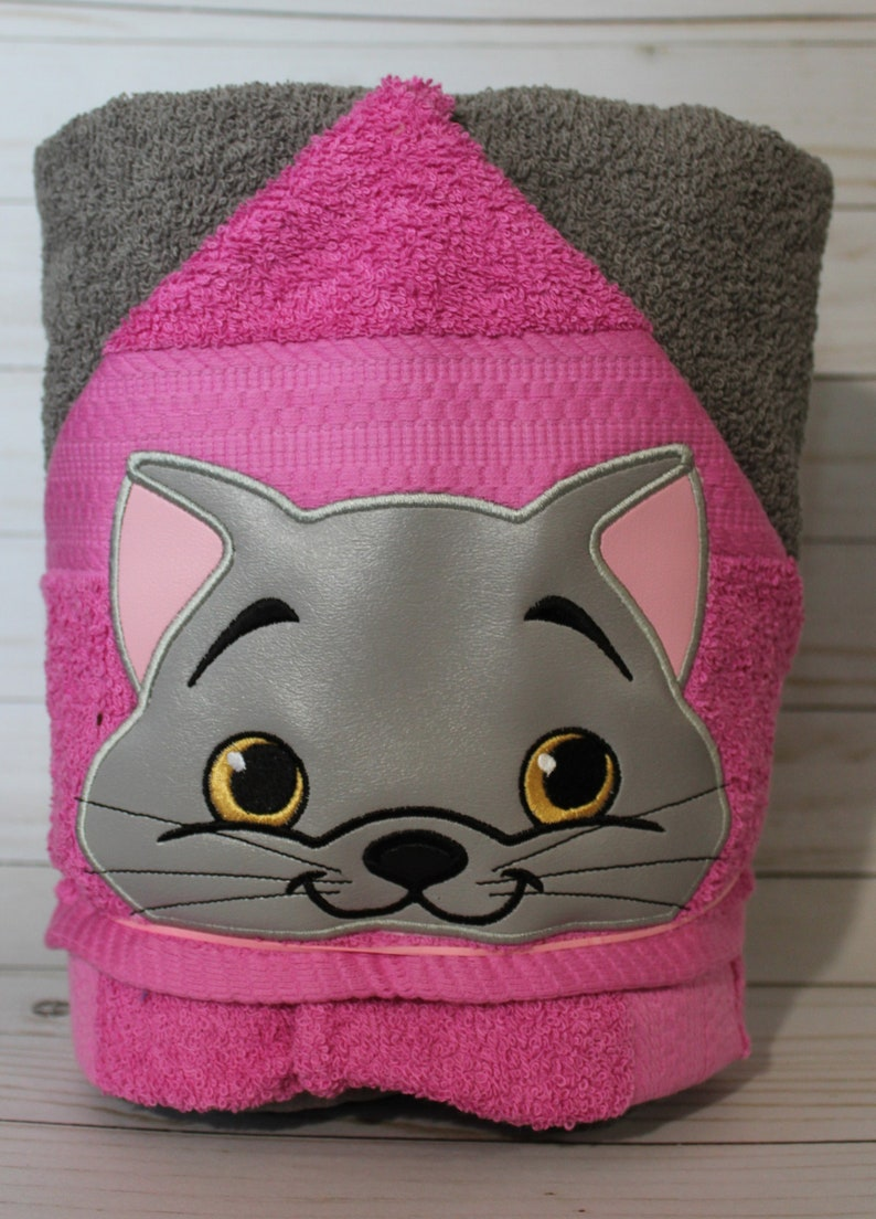 Personalized Gray Kitty Cat Machine Embroidered Hooded Towel image 0