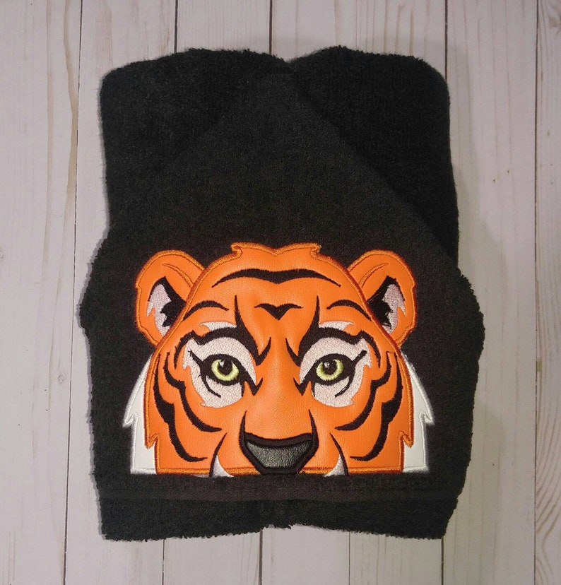 Orange and Black Tiger Hooded Towel Infant Children. Swimming. image 0