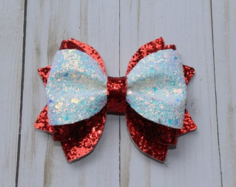 Red and White sparkle glitter layered hairbow clip.
