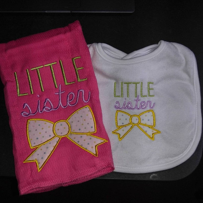 Little Sister applique machine embroidered infant toddler image 0