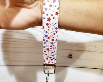 Wristlet Key fob Faux Leather. Wrist keychain. Customize holiday pattern key holder