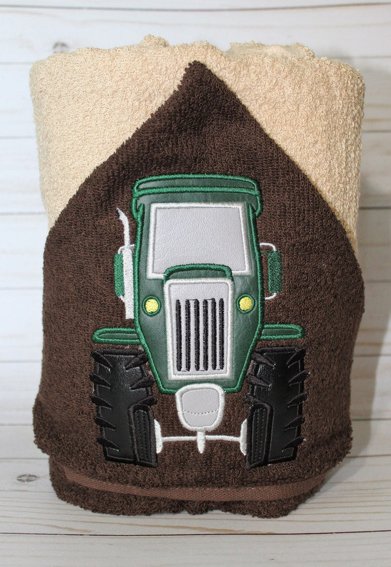 Personalized Green Tractor Machine Embroidered Hooded Towel image 0