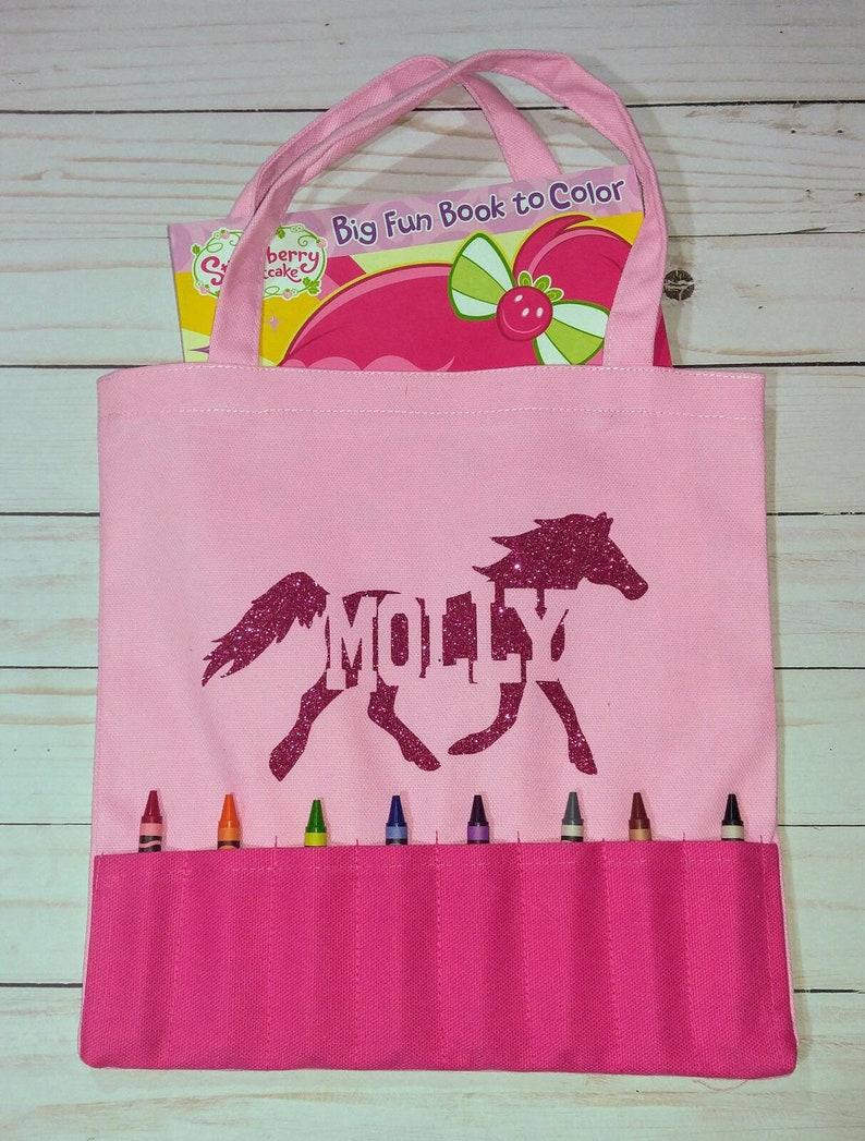 Personalized Girls Pink Crayon & Coloring Book Tote Bag image 0