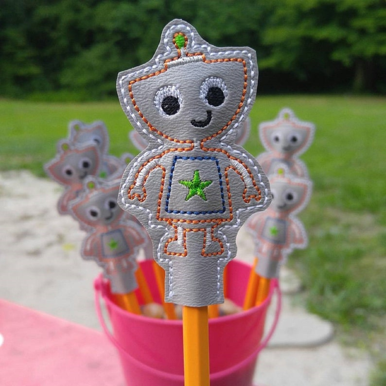 Cute Robot Pencil Topper. Embroidered Robot image 0