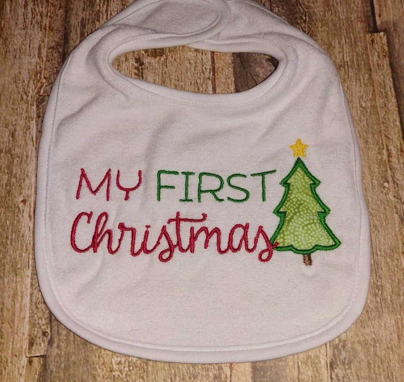 Infant Toddler My First Christmas Embroidered white bib image 0