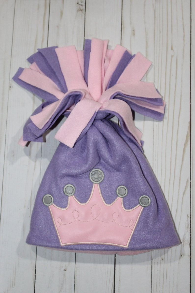 Machine Embroidered Pink Princess Crown Applique Peeker Fleece image 0
