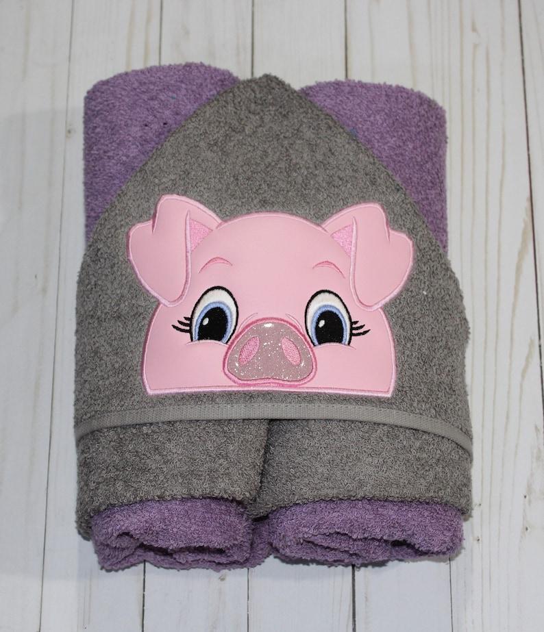 Pink Pig Machine Embroidered Hooded Towel Peeker. Bathtime. image 0